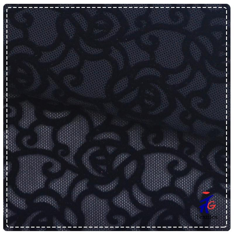 black flower pattern flocking lingerie fabric