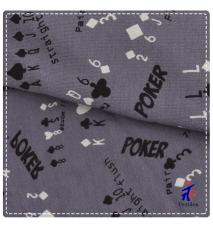 words and poker print stretch fabric