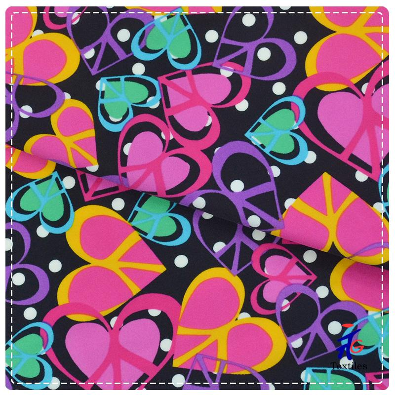 colorful lovely heart print swimsuit fabric